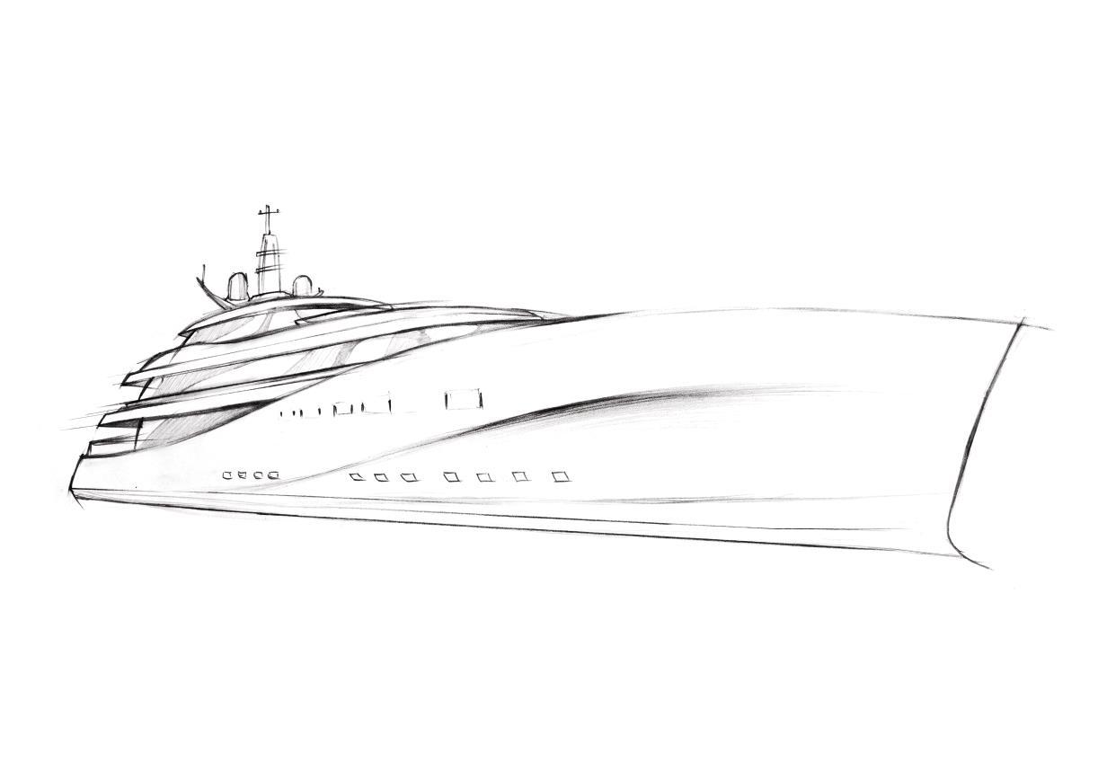 Art Line Yacht Design : P yacht concept front frame sketch — charter