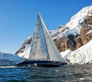 Photo of Ron Holland-designed Maxi 78 Yacht WILD sailing in the ice