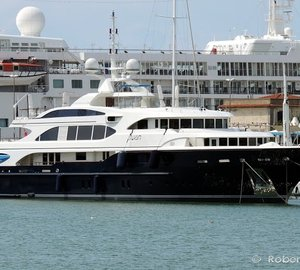 Photos of 60m Benetti mega yacht SWAN (ex LYANA) in the Port of Livorno, Italy