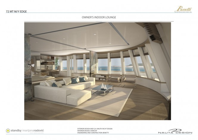72m Edge 72 yacht - Owner's Indoor Lounge
