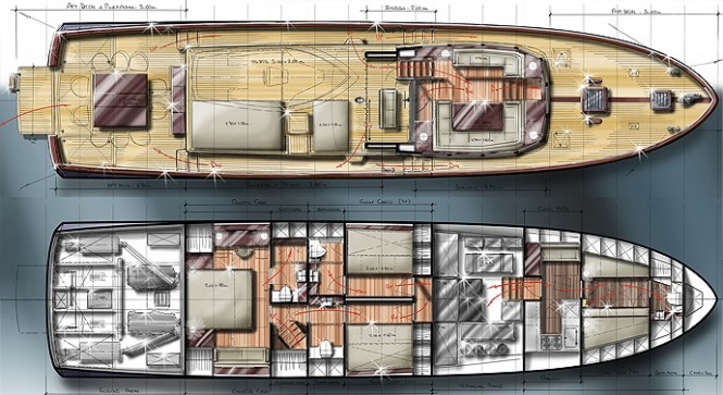 Barracuda's 65' Commuter yacht design - Layout