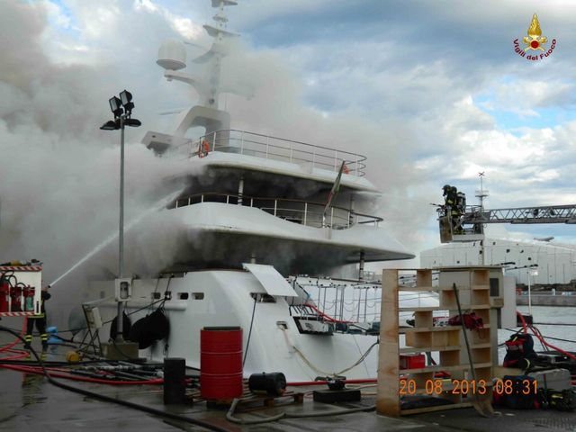 Benetti FB261 superyacht catches fire - Photo credit Vigili del Fuoco Livorno