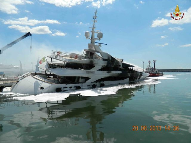 Benetti superyacht FB261 after the intervention of fire fighters of Livorno - Photo credit to Vigili del Fuoco Livorno