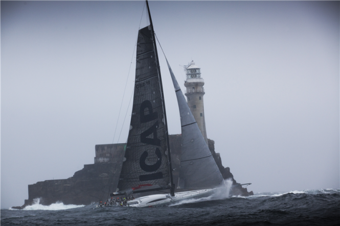 Charter yacht ICAP Leopard at the Fastnet Rock - Image credit to Rolex Daniel Forsterjpg