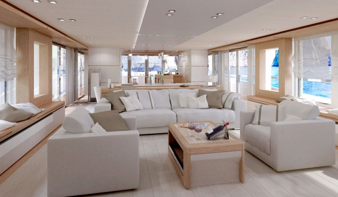 Columbus 40m Sport Hybrid Yacht - Main Saloon