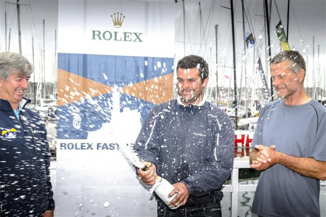 Eddie Warden Owen, RORC CEO and the winners - NIGHT AND DAY - Photo by Rolex Kurt Arrigo