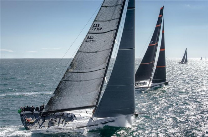 Luxury yacht Ran 2 in close pursuit of Bella Mente yacht after the race start