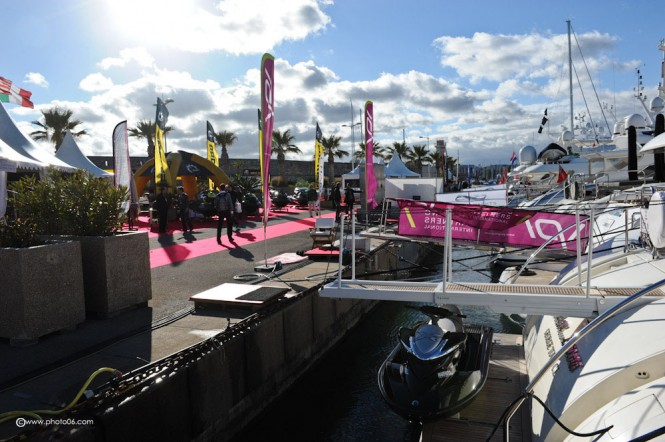 Luxury yachts on display at the 2013 Antibes Yacht Show