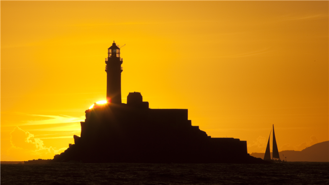 Passing by the Fastnet Rock at dawn
