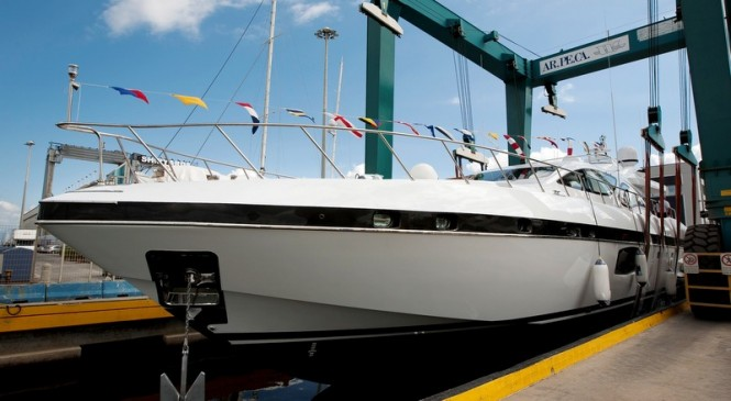 Second Mangusta 94 Yacht at launch - Photo by Emilio Bianchi for Overmarine Group