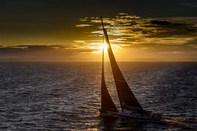 Sunset sailing for Esimit Europa 2 yacht at the end of the first day - Photo by Rolex Kurt Arrigo