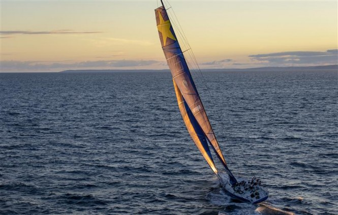 Sunset sailing for superyacht Esimit Europa 2 at the end of the first day