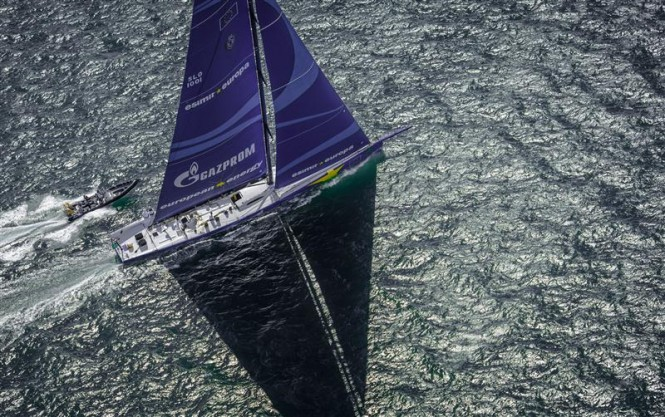 Superyacht Esimit Europa 2 leading the fleet at the 2013 Rolex Fastnet Race - Photo by Rolex Kurt Arrigo
