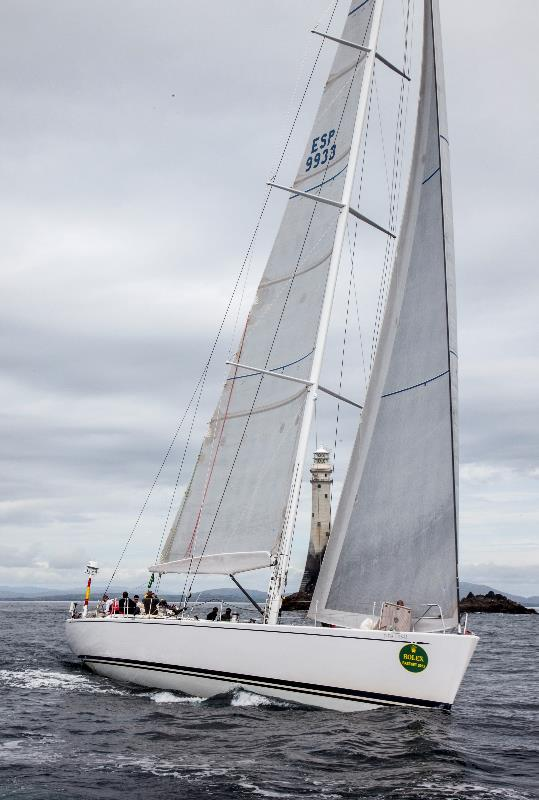 Swan 80 superyacht Plis Play rounds the Fastnet Rock - Photo credit to Rolex Daniel Forster