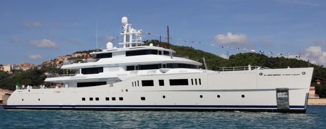 73m mega yacht Grace E on the water