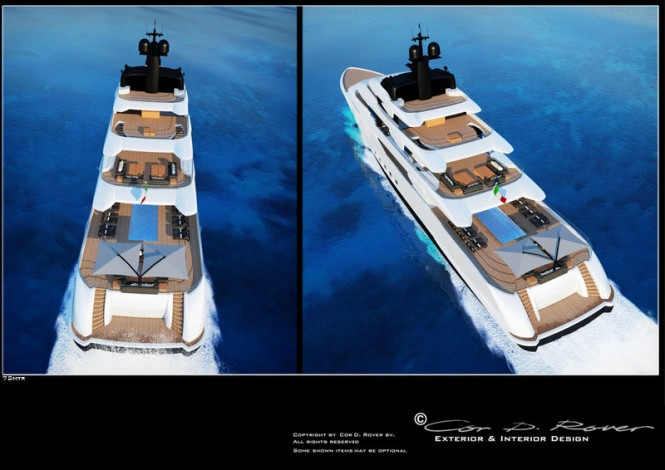 72m Beach luxury yacht concept - aft view
