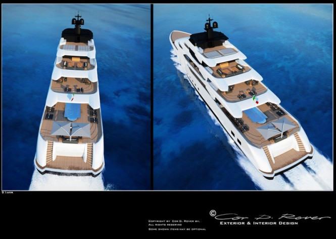 91m Beach luxury motor yacht concept - aft view