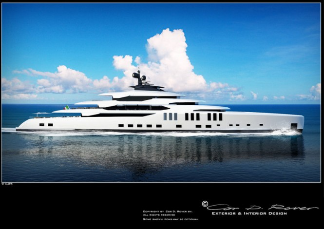 91m Beach superyacht concept - side view
