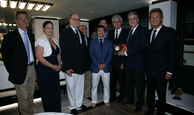 HSH Prince Albert II of Monaco award the Benetti FB263 yacht Ocean Paradise with the RINA Green Plus prize