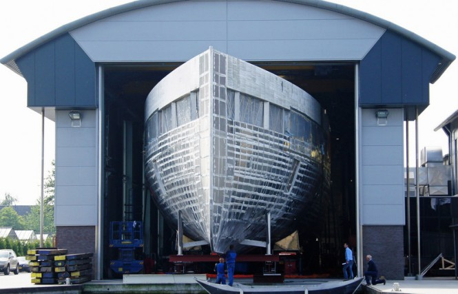 Hull of the 78m VENUS Yacht