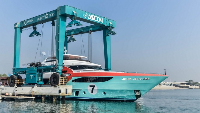 Luxury motor yacht Sehamia on the water