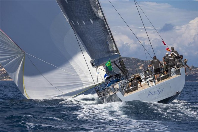 Luxury yacht Aegir reaching during the coastal race