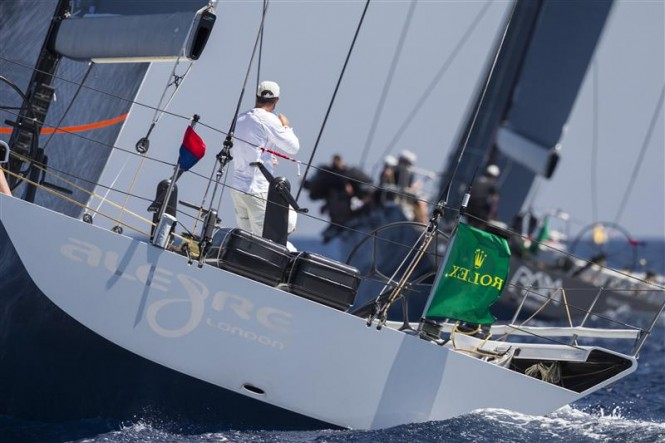 Luxury yacht Alegre during the second day of racing