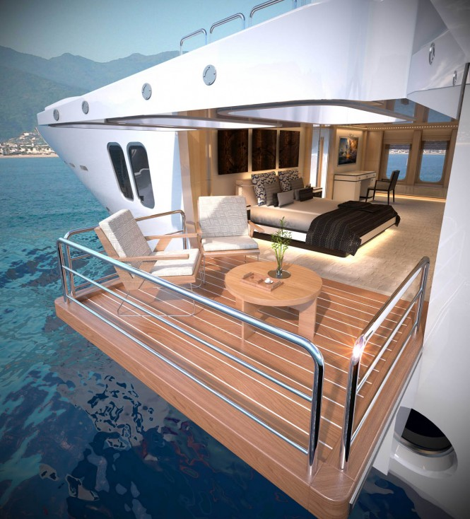 Majesty 155 Yacht - Owner's Balcony