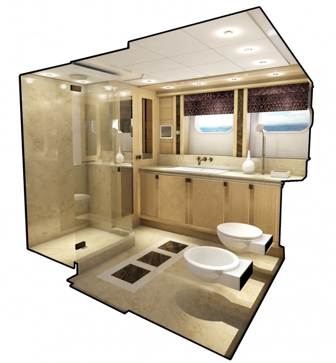 Project Galatea Yacht - Guest bathroom