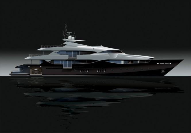 Rendering of Sunseeker 155 Superyacht