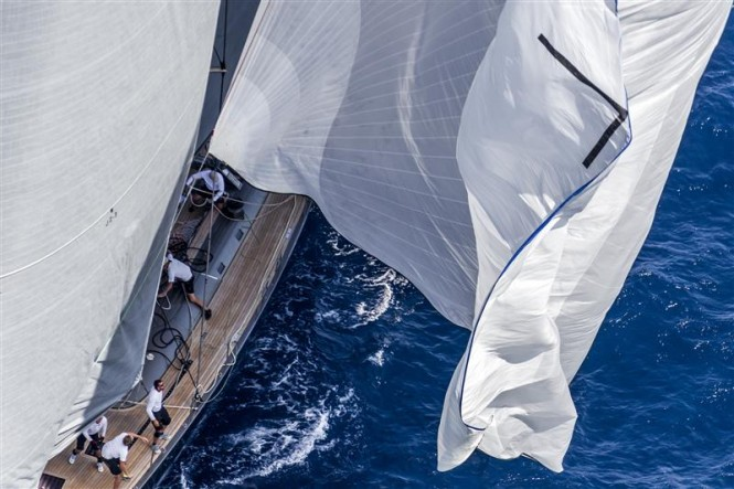 Spinnaker drop on board superyacht Y3K