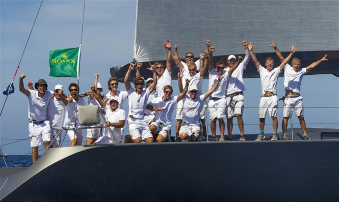 Superyacht J-One and crew members celebrate their win in the Wally Class