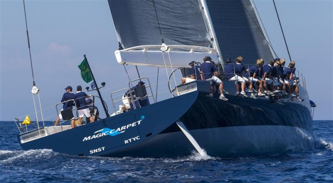 Superyacht Magic Carpet 3 reveals her twin rudder configuration as she heads upwind