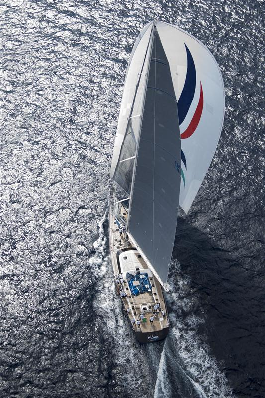 Superyacht Nilaya shows-off her beauty during the third day of racing