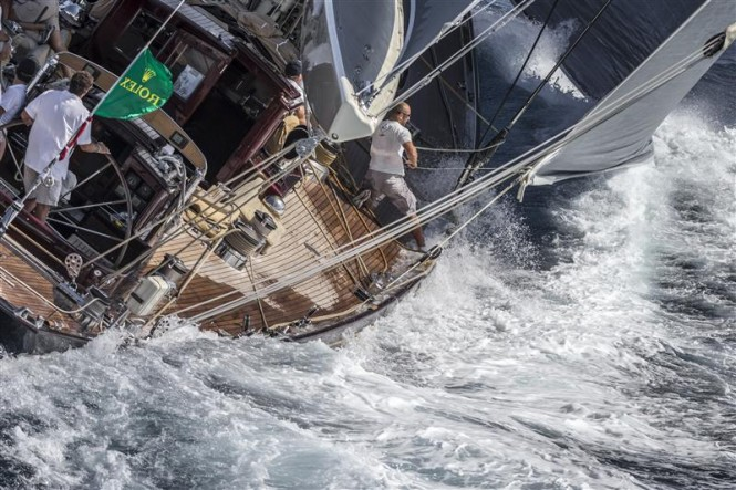 Superyacht Velsheda during the third day of racing in Sardinia
