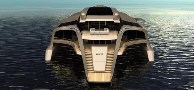Trimaran 210 superyacht concept - aft view