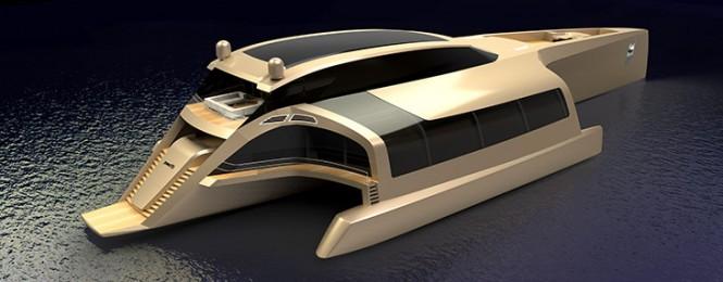 Trimaran 210 superyacht concept - upview