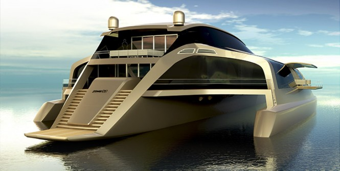 Trimaran 210 yacht concept - aft view
