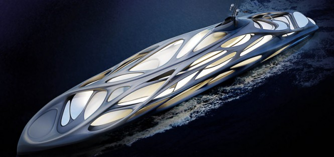 128m mothership luxury yacht concept by night