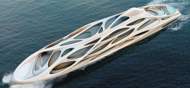Aerial view of the 128m mothership superyacht concept