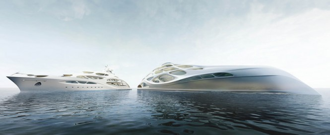 The 90m (left) and 128m mothership (right) superyacht concepts from Zaha Hadid and Blohm + Voss