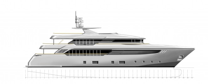 40m motor yacht Conero project by CRN