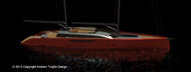 65m motor-sailer yacht Serendipity concept by Andrew Trujillo