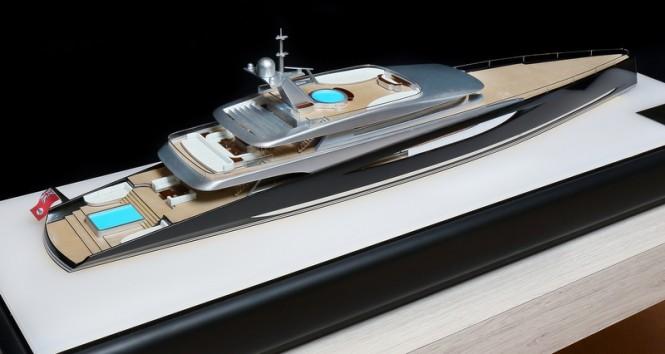 80m mega yacht DART concept - aft view