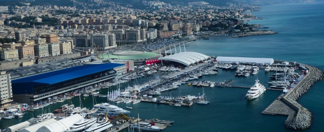 Aerial view of the 2013 Genoa Boat Show