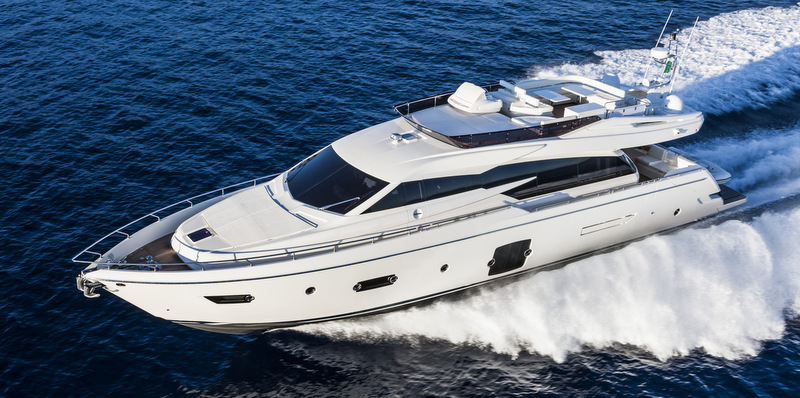 Ferretti 750 Yacht At Full Speed