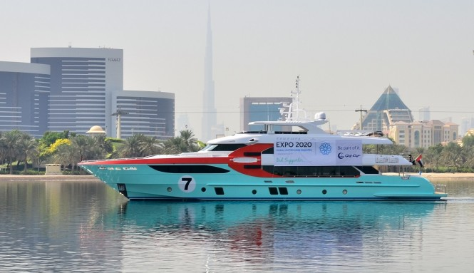Gulf Craft's superyacht Majesty 135 with the flag supporting the Expo 2020 Dubai
