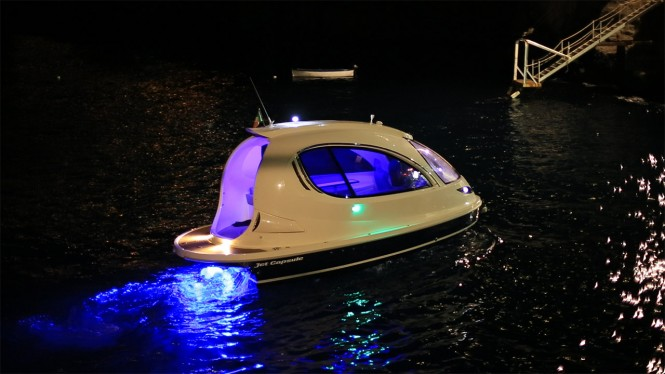 Jet Capsule superyacht tender by night