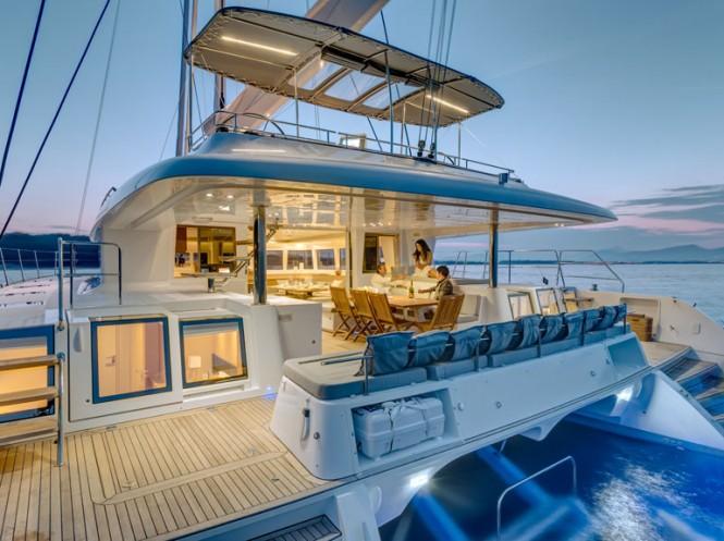 Lagoon 620 catamaran sistership to Barbuda Belle yacht - Alfresco living