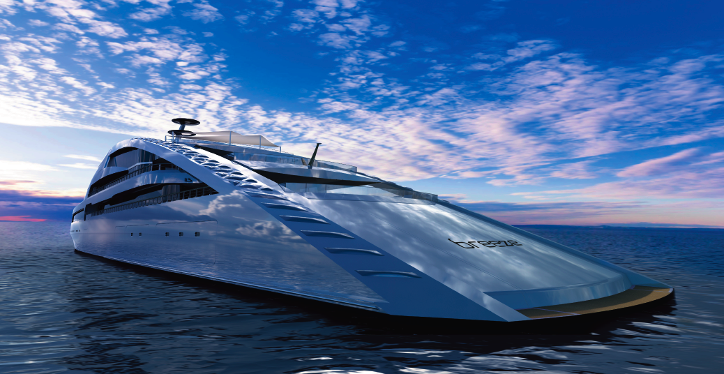 Luxury mega yacht concept breeze by sinot yacht design luxury